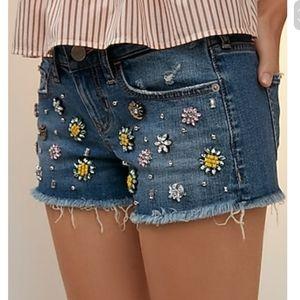 Low rise relaxed gemstone denim shorts